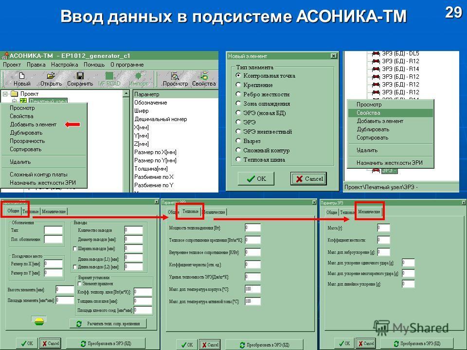 29 Ввод данных в подсистеме АСОНИКА-ТМ