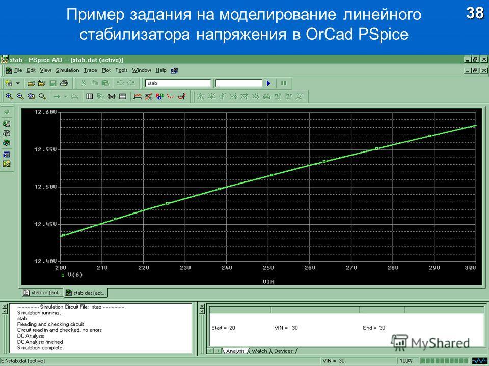 Пример задания на моделирование линейного стабилизатора напряжения в OrCad PSpice38