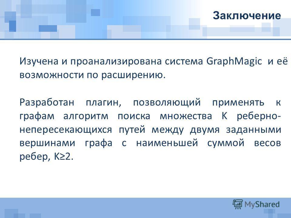 Изучена и проанализирована система GraphMagic и её возможности по расширению. Заключение Разработан плагин, позволяющий применять к графам алгоритм поиска множества K реберно- непересекающихся путей между двумя заданными вершинами графа с наименьшей