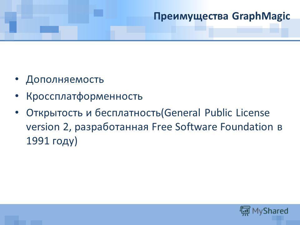 Преимущества GraphMagic Дополняемость Кроссплатформенность Открытость и бесплатность(General Public License version 2, разработанная Free Software Foundation в 1991 году)