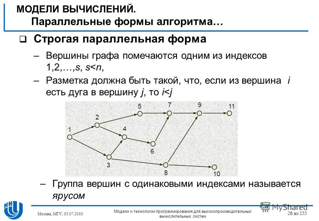 Строгая параллельная форма –Вершины графа помечаются одним из индексов 1,2,…,s, s