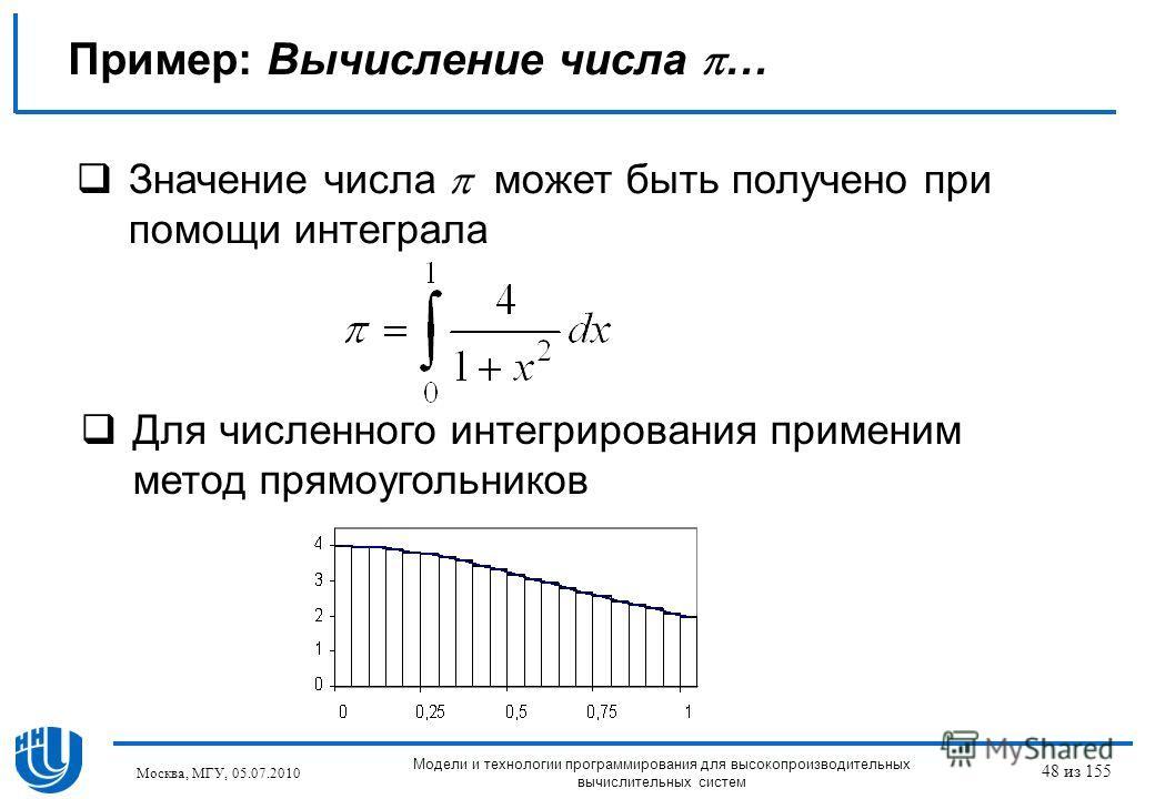 Пример: Вычисление числа … Значение числа может быть получено при помощи интеграла Для численного интегрирования применим метод прямоугольников Москва, МГУ, 05.07.2010 Модели и технологии программирования для высокопроизводительных вычислительных сис