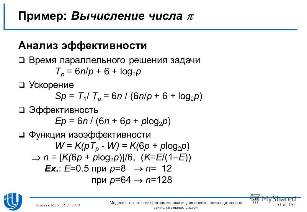 Пример: Вычисление числа Анализ эффективности Время параллельного решения задачи T p = 6n/p + 6 + log 2 p Ускорение Sp = T 1 / T p = 6n / (6n/p + 6 + log 2 p) Эффективность Ep = 6n / (6n + 6p + plog 2 p) Функция изоэффективности W = K(pT p - W) = K(6
