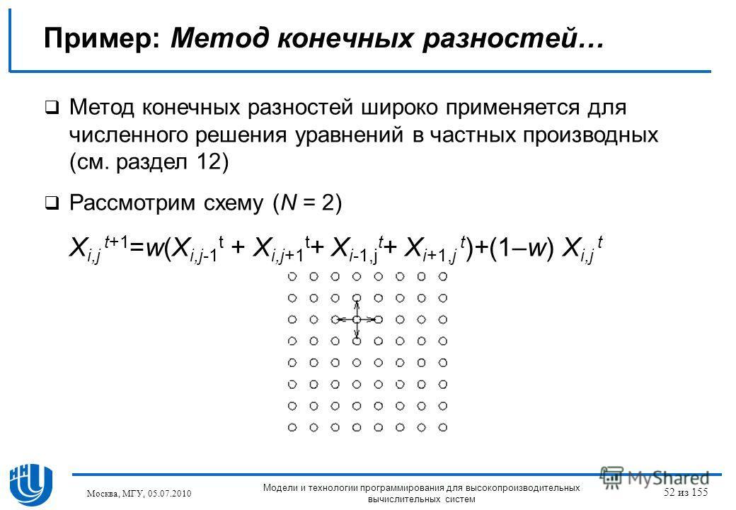Пример: Метод конечных разностей… Метод конечных разностей широко применяется для численного решения уравнений в частных производных (см. раздел 12) Рассмотрим схему (N = 2) X i,j t+1 =w(X i,j-1 t + X i,j+1 t + X i-1,j t + X i+1,j t )+(1–w) X i,j t М