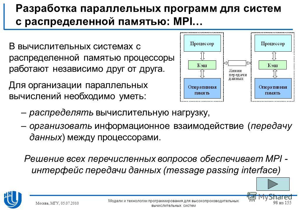 Разработка параллельных программ для систем с распределенной памятью: MPI… –распределять вычислительную нагрузку, –организовать информационное взаимодействие (передачу данных) между процессорами. Решение всех перечисленных вопросов обеспечивает MPI -