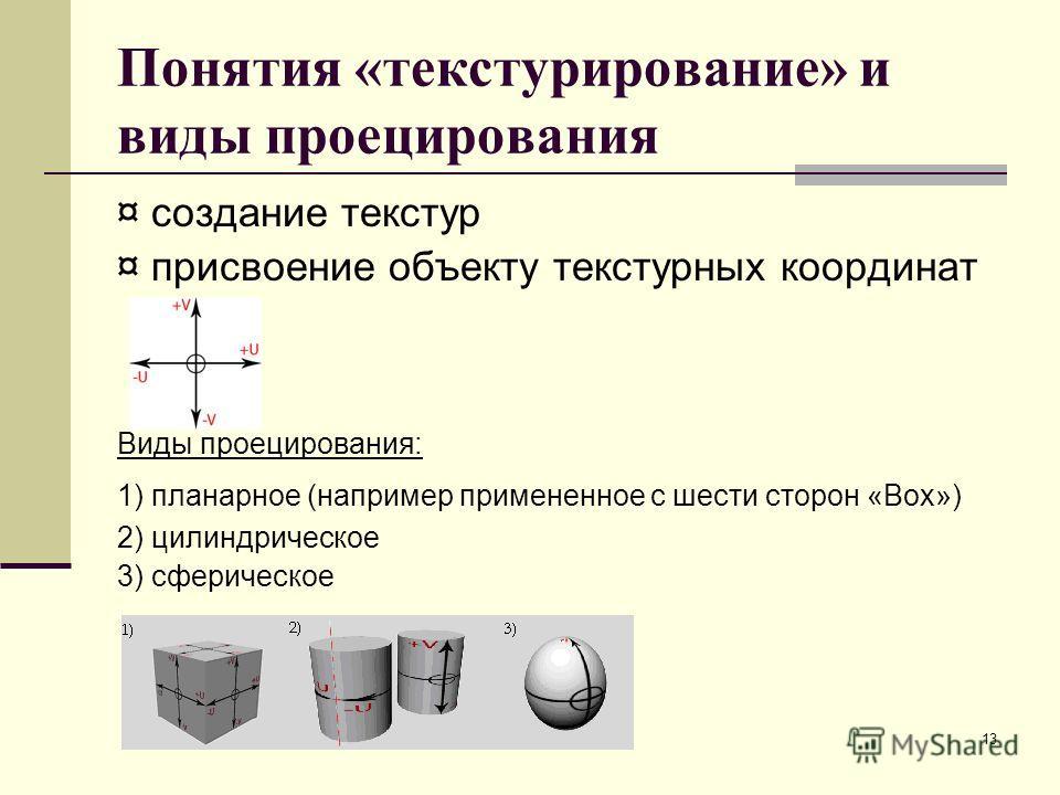 13 Понятия «текстурирование» и виды проецирования ¤ создание текстур ¤ присвоение объекту текстурных координат Виды проецирования: 1) планарное (например примененное с шести сторон «Box») 2) цилиндрическое 3) сферическое