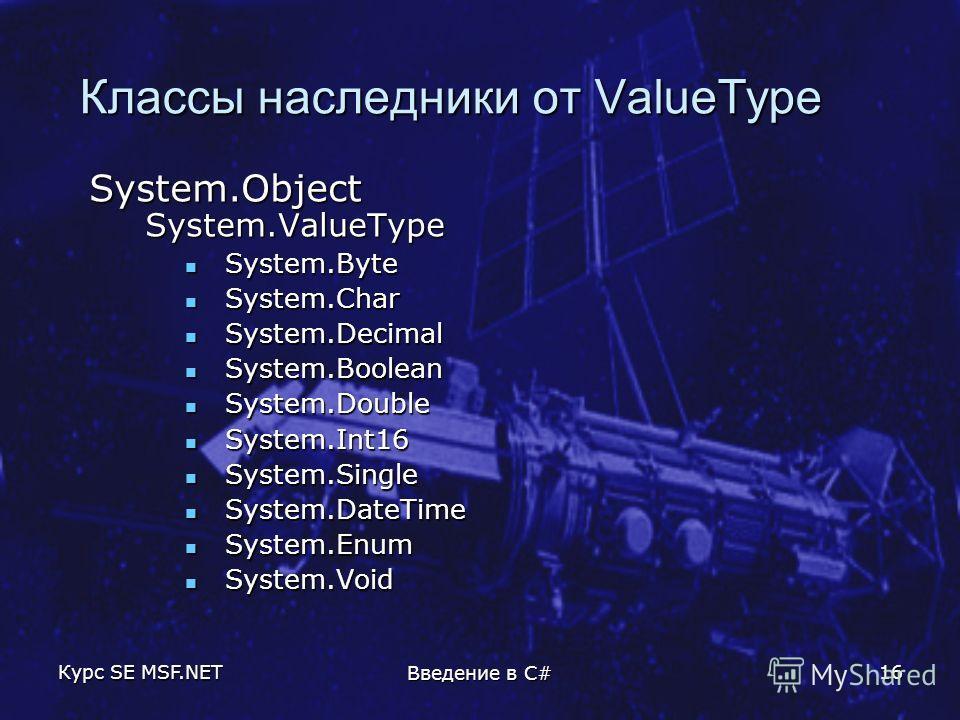 Курс SE MSF.NET Введение в C# 16 Классы наследники от ValueType System.Object System.ValueType System.Byte System.Byte System.Char System.Char System.Decimal System.Decimal System.Boolean System.Boolean System.Double System.Double System.Int16 System