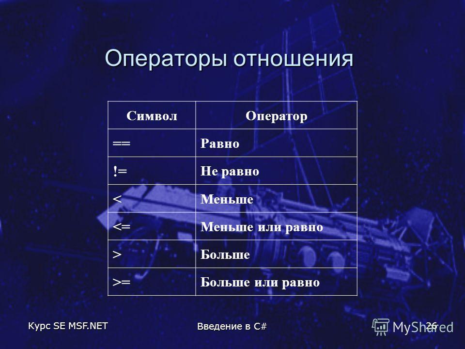 Курс SE MSF.NET Введение в C# 26 Операторы отношения СимволОператор == Равно != Не равно < Меньше  Больше >= Больше или равно