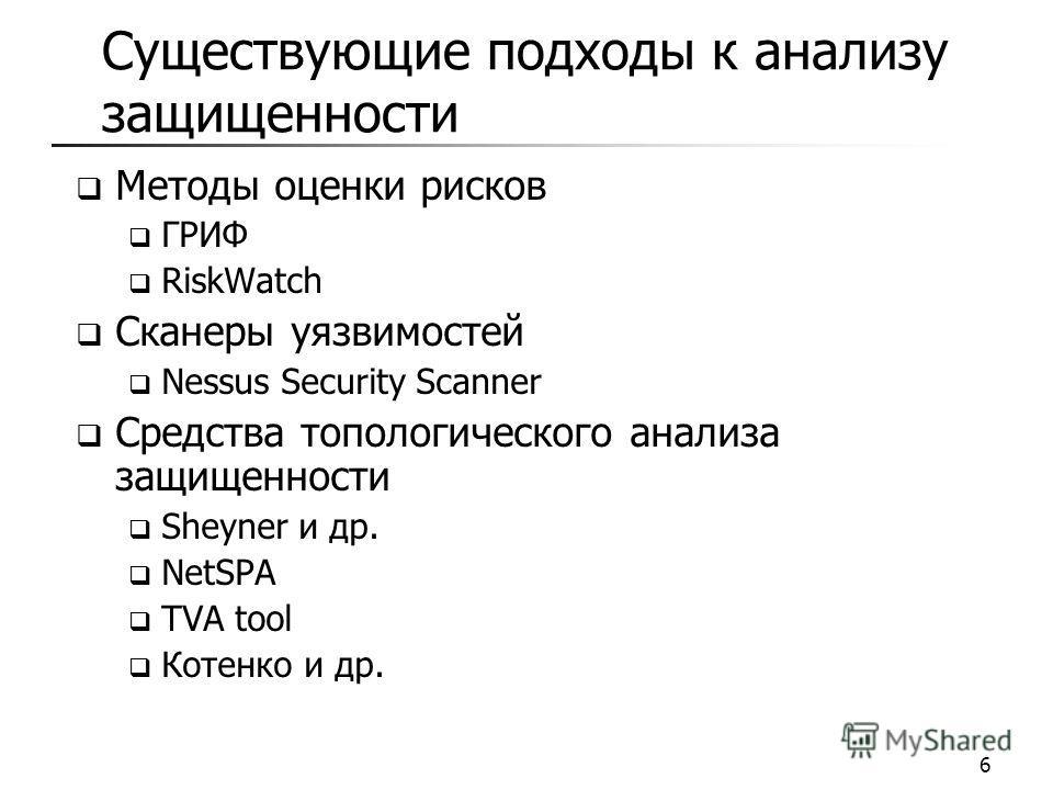 Существующие подходы к анализу защищенности Методы оценки рисков ГРИФ RiskWatch Сканеры уязвимостей Nessus Security Scanner Средства топологического анализа защищенности Sheyner и др. NetSPA TVA tool Котенко и др. 6