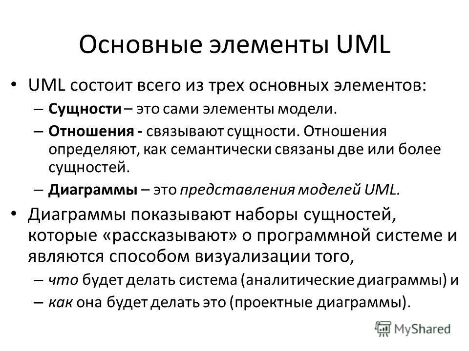 Основные элементы UML UML состоит всего из трех основных элементов: – Сущности – это сами элементы модели. – Отношения - связывают сущности. Отношения определяют, как семантически связаны две или более сущностей. – Диаграммы – это представления модел