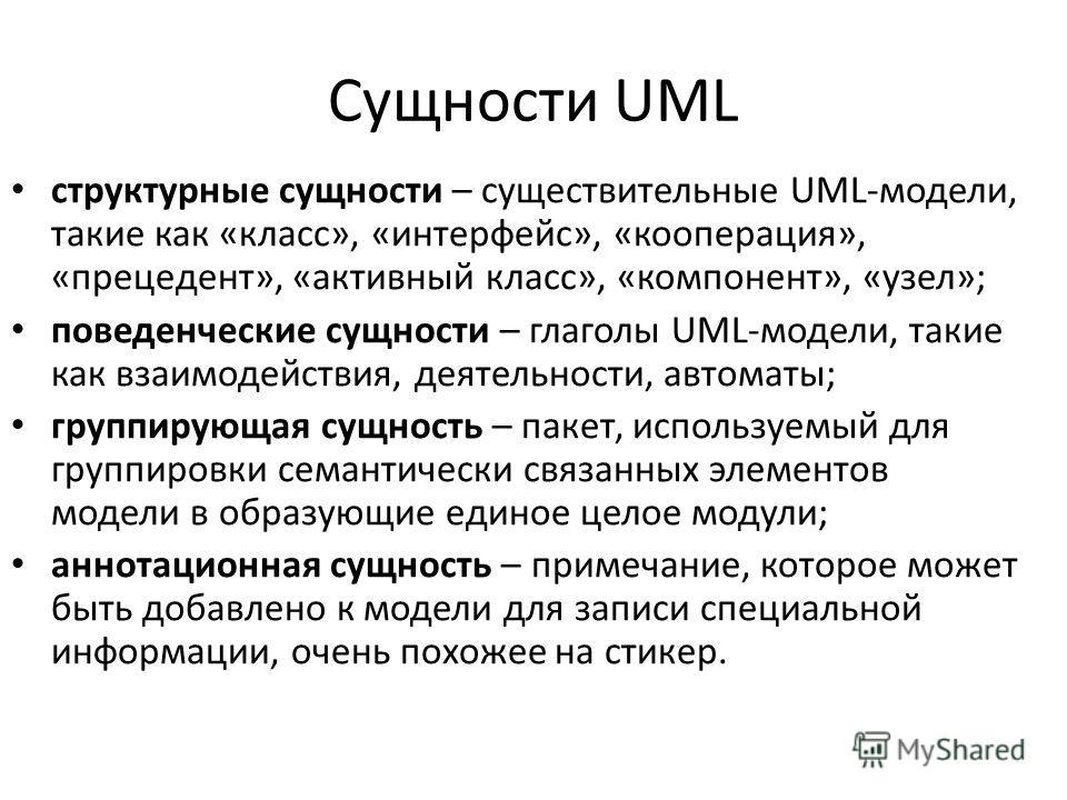 Сущности UML структурные сущности – существительные UML-модели, такие как «класс», «интерфейс», «кооперация», «прецедент», «активный класс», «компонент», «узел»; поведенческие сущности – глаголы UML-модели, такие как взаимодействия, деятельности, авт