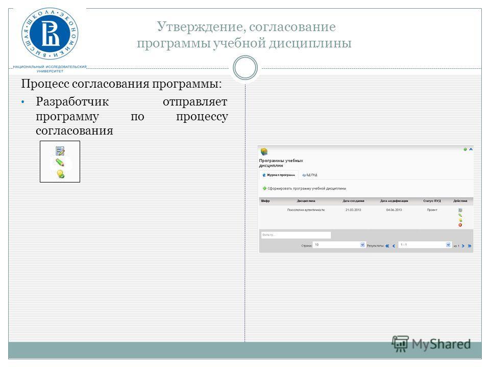 Утверждение, согласование программы учебной дисциплины Процесс согласования программы: Разработчик отправляет программу по процессу согласования