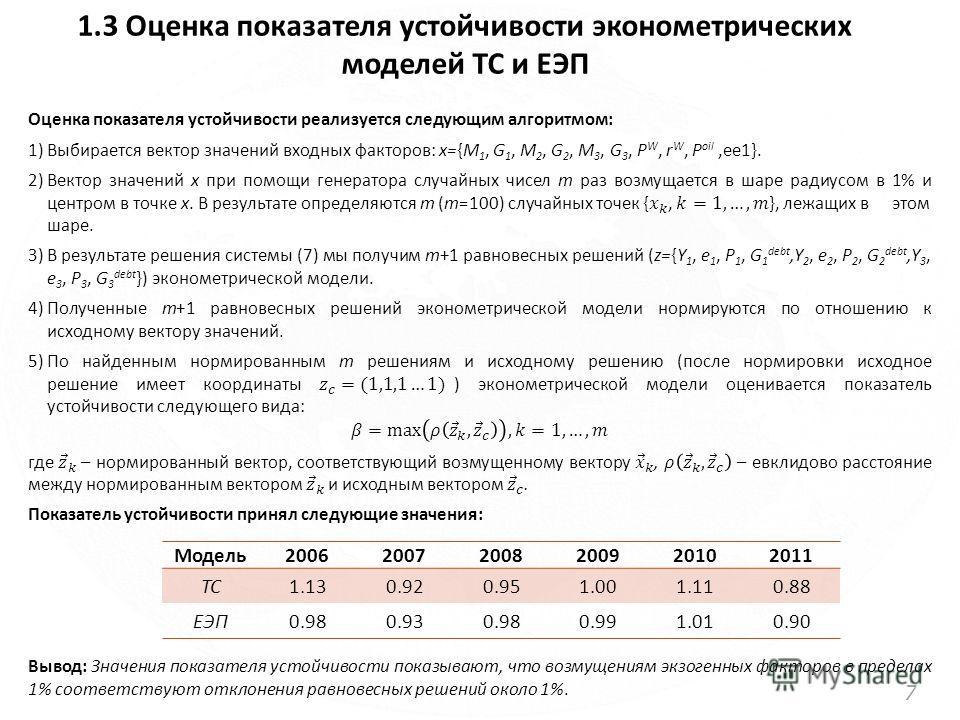 1.3 Оценка показателя устойчивости эконометрических моделей ТС и ЕЭП 7 Модель200620072008200920102011 ТС1.130.920.951.001.110.88 ЕЭП0.980.930.980.991.010.90