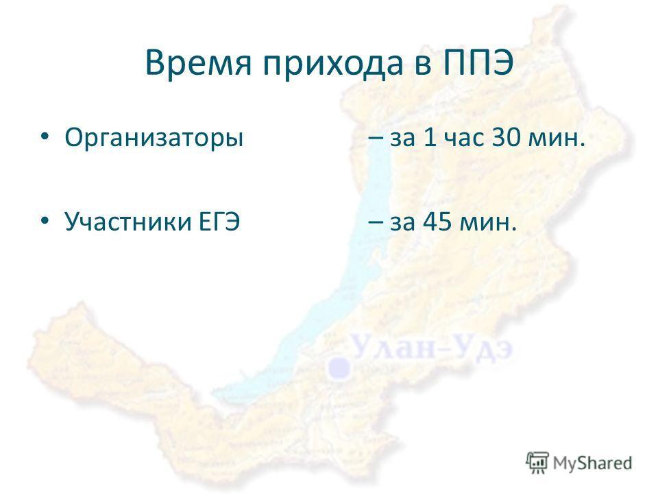 Время прихода в ППЭ Организаторы – за 1 час 30 мин. Участники ЕГЭ – за 45 мин.