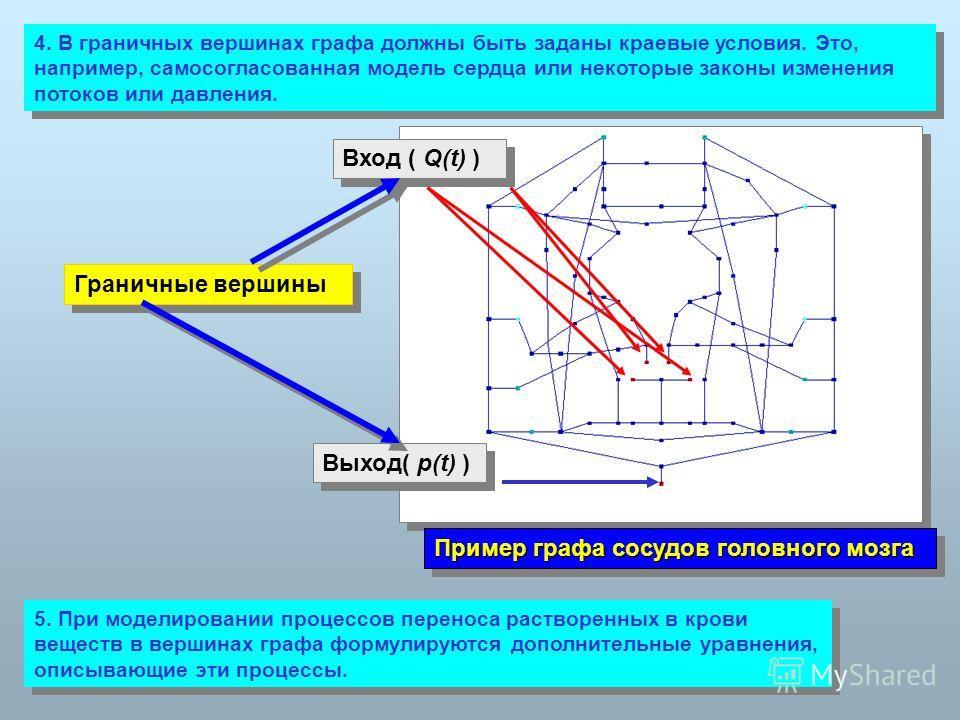 4. В граничных вершинах графа должны быть заданы краевые условия. Это, например, самосогласованная модель сердца или некоторые законы изменения потоков или давления. Граничные вершины Вход ( Q(t) ) Выход( p(t) ) Пример графа сосудов головного мозга 5