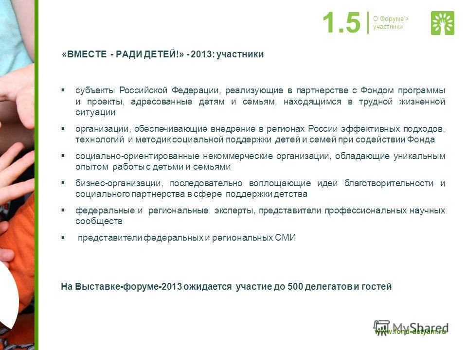 www.fond-detyam.ru «ВМЕСТЕ - РАДИ ДЕТЕЙ!» - 2013: участники 1.5 О Форуме > участники субъекты Российской Федерации, реализующие в партнерстве с Фондом программы и проекты, адресованные детям и семьям, находящимся в трудной жизненной ситуации организа