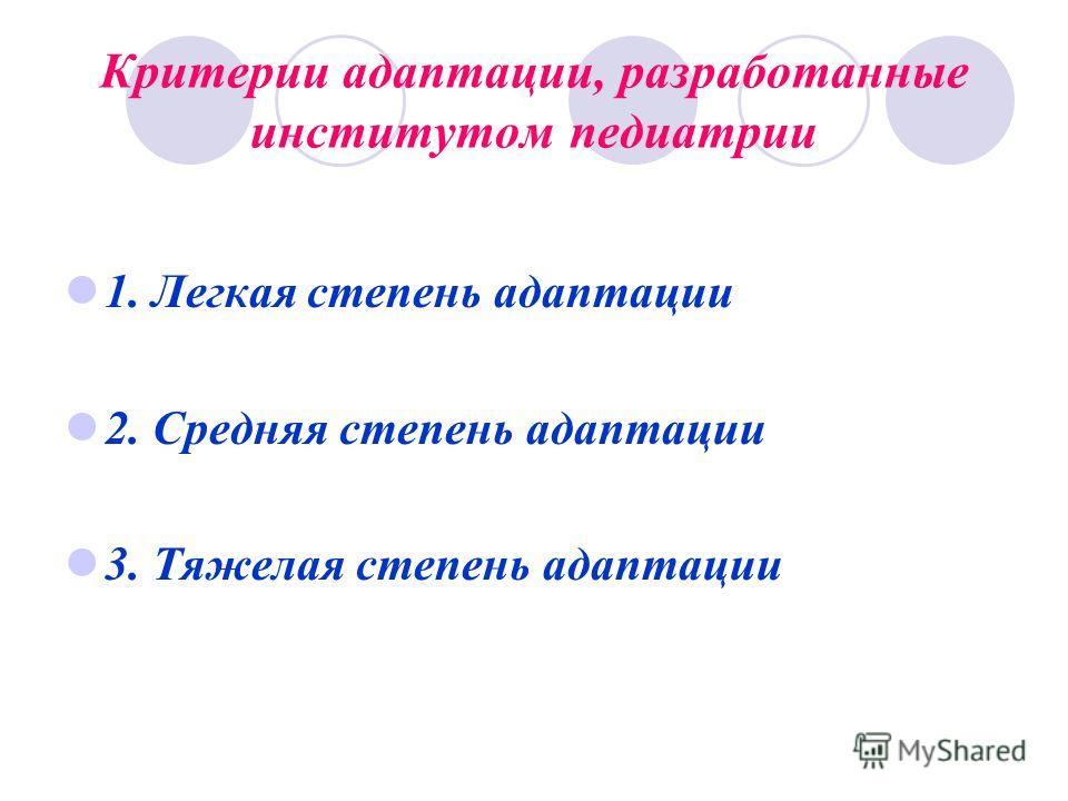 Критерии адаптации, разработанные институтом педиатрии 1. Легкая степень адаптации 2. Средняя степень адаптации 3. Тяжелая степень адаптации