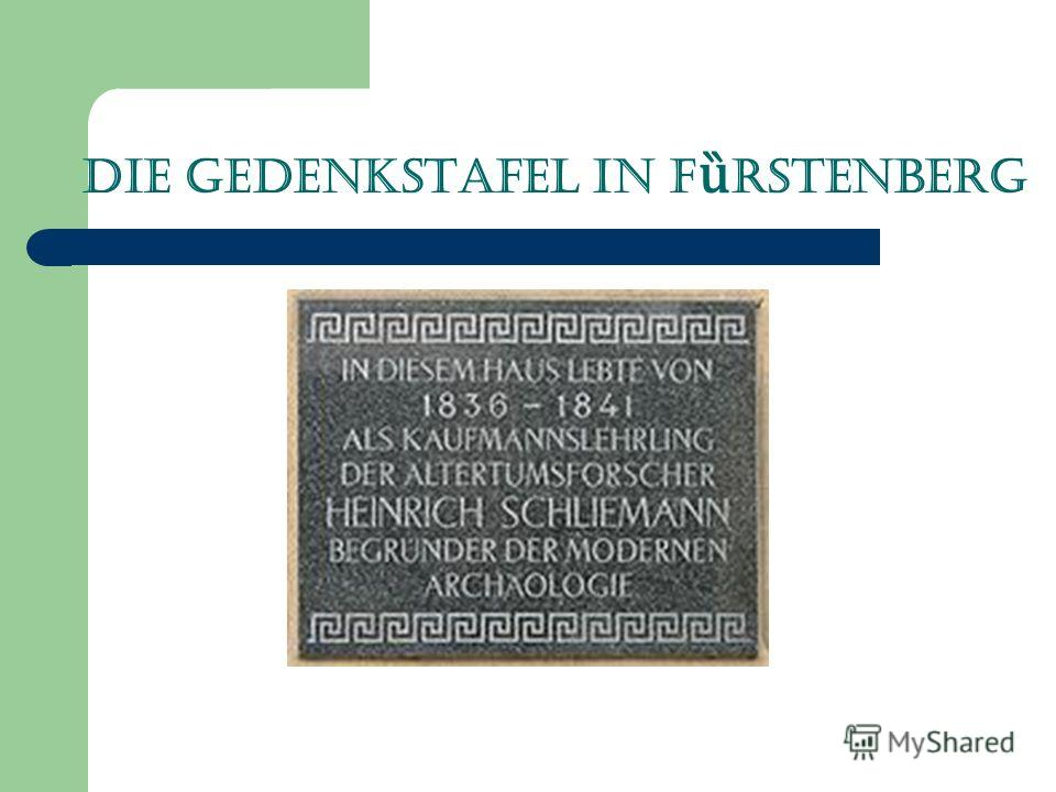 Die Gedenkstafel in F ȕ rstenberg