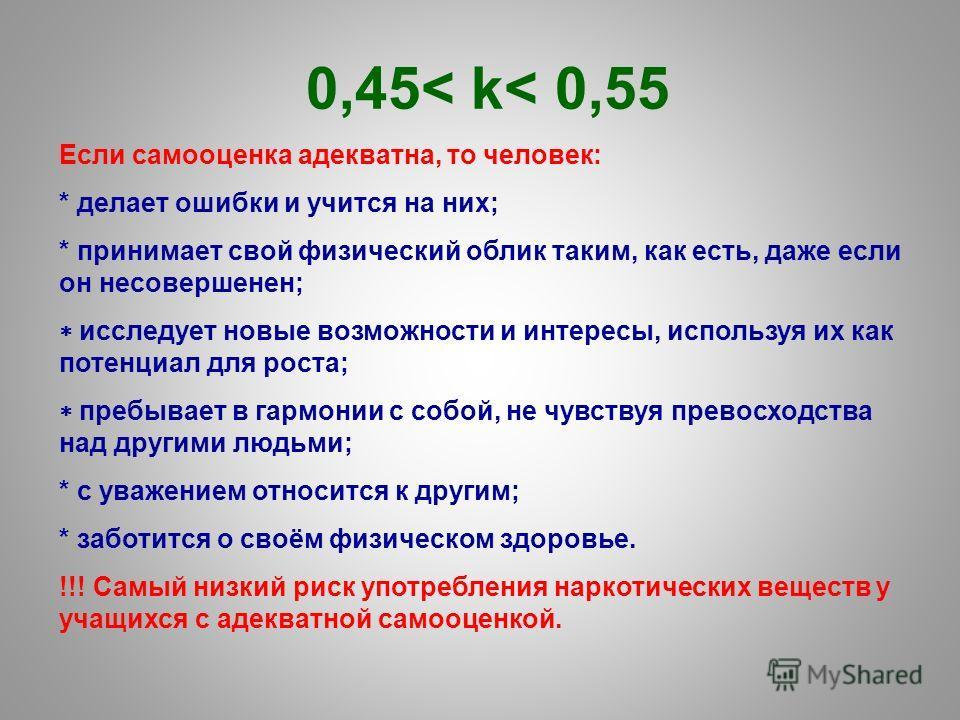 0,45< k< 0,55 Если самооценка адекватна, то человек: * делает ошибки и учится на них; * принимает свой физический облик таким, как есть, даже если он несовершенен; исследует новые возможности и интересы, используя их как потенциал для роста; пребывае