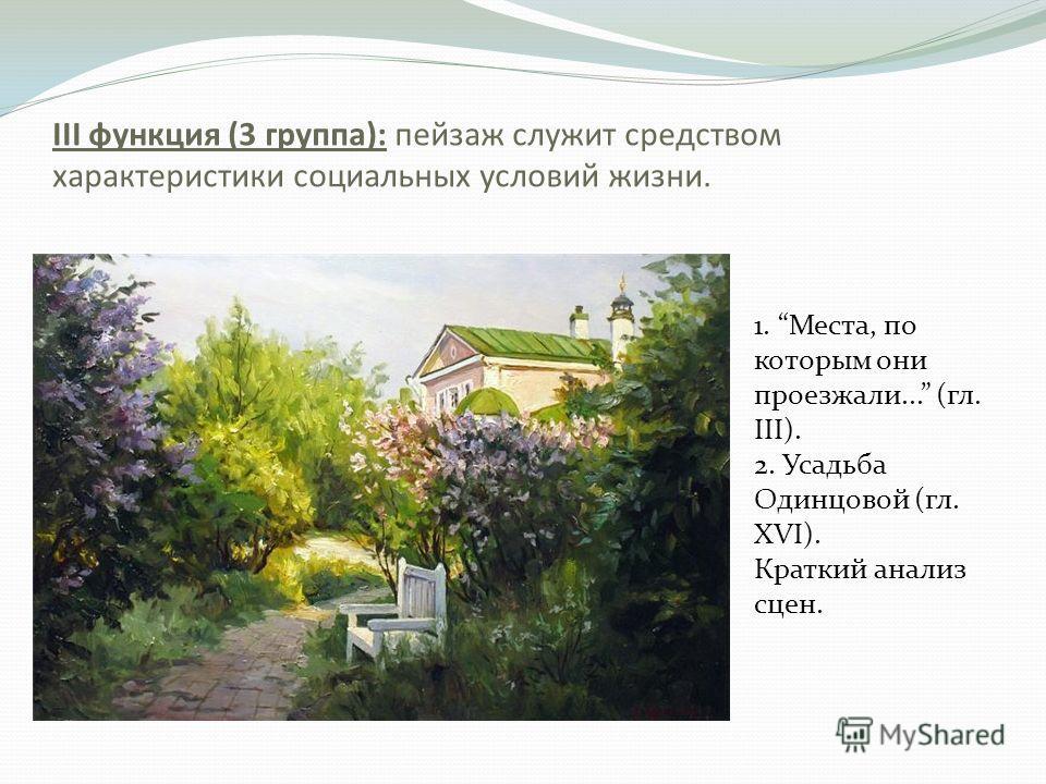 III функция (3 группа): пейзаж служит средством характеристики социальных условий жизни. 1. Места, по которым они проезжали... (гл. III). 2. Усадьба Одинцовой (гл. XVI). Краткий анализ сцен.