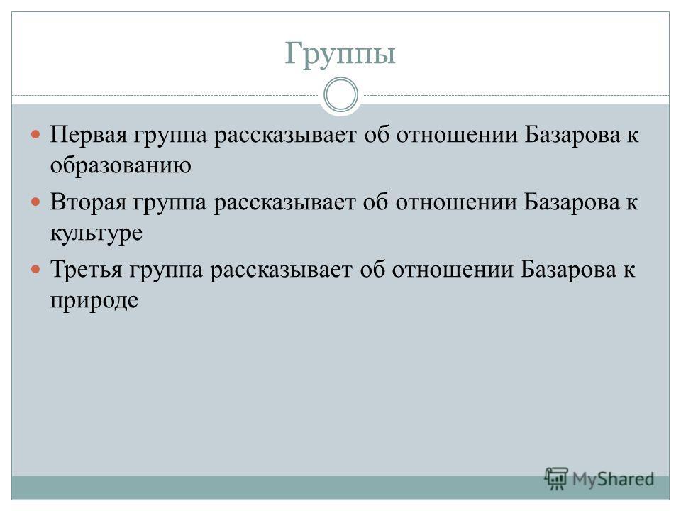 Группы Первая группа рассказывает об отношении Базарова к образованию Вторая группа рассказывает об отношении Базарова к культуре Третья группа рассказывает об отношении Базарова к природе