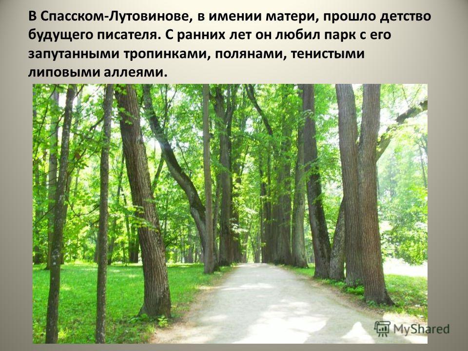 В Спасском-Лутовинове, в имении матери, прошло детство будущего писателя. С ранних лет он любил парк с его запутанными тропинками, полянами, тенистыми липовыми аллеями.
