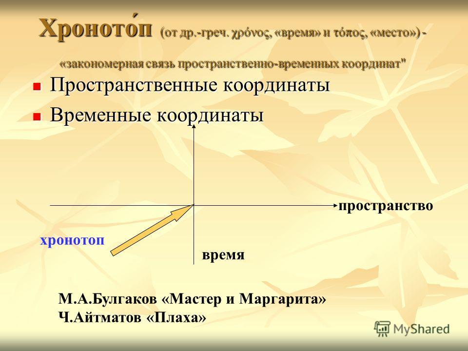 Хроното́п (от др.-греч. χρόνος, «время» и τόπος, «место») - «закономерная связь пространственно-временных координат