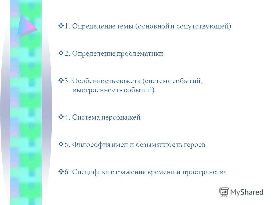 1. Определение темы (основной и сопутствующей) 2. Определение проблематики 3. Особенность сюжета (система событий, выстроенность событий) 4. Система персонажей 5. Философия имен и безымянность героев 6. Специфика отражения времени и пространства