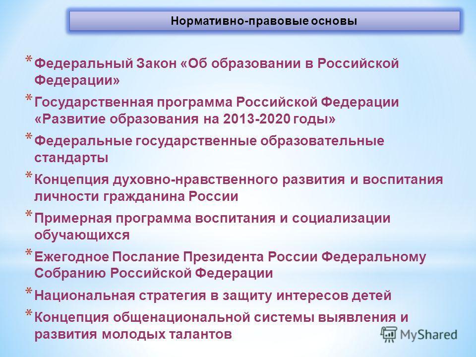 Нормативно-правовые основы * Федеральный Закон «Об образовании в Российской Федерации» * Государственная программа Российской Федерации «Развитие образования на 2013-2020 годы» * Федеральные государственные образовательные стандарты * Концепция духов
