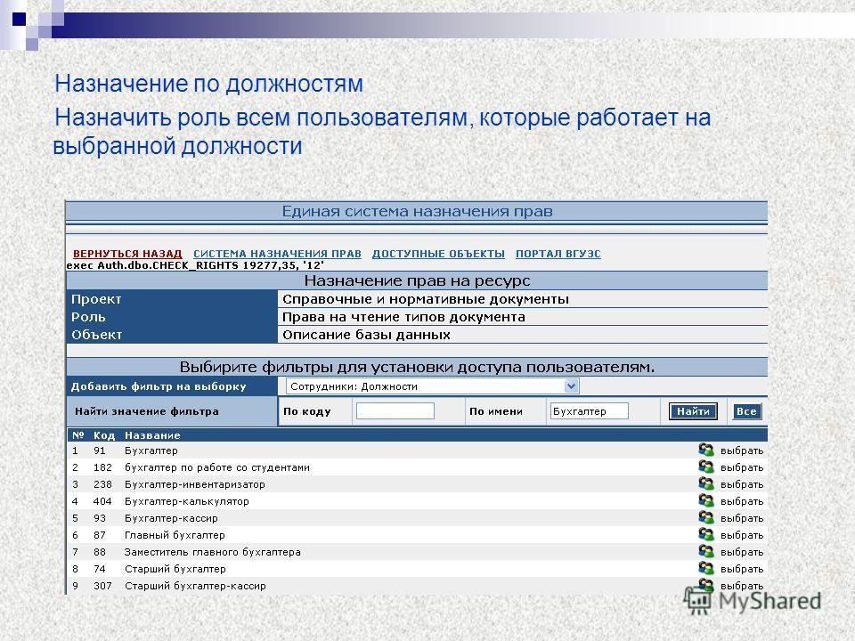 Назначение по должностям Назначить роль всем пользователям, которые работает на выбранной должности