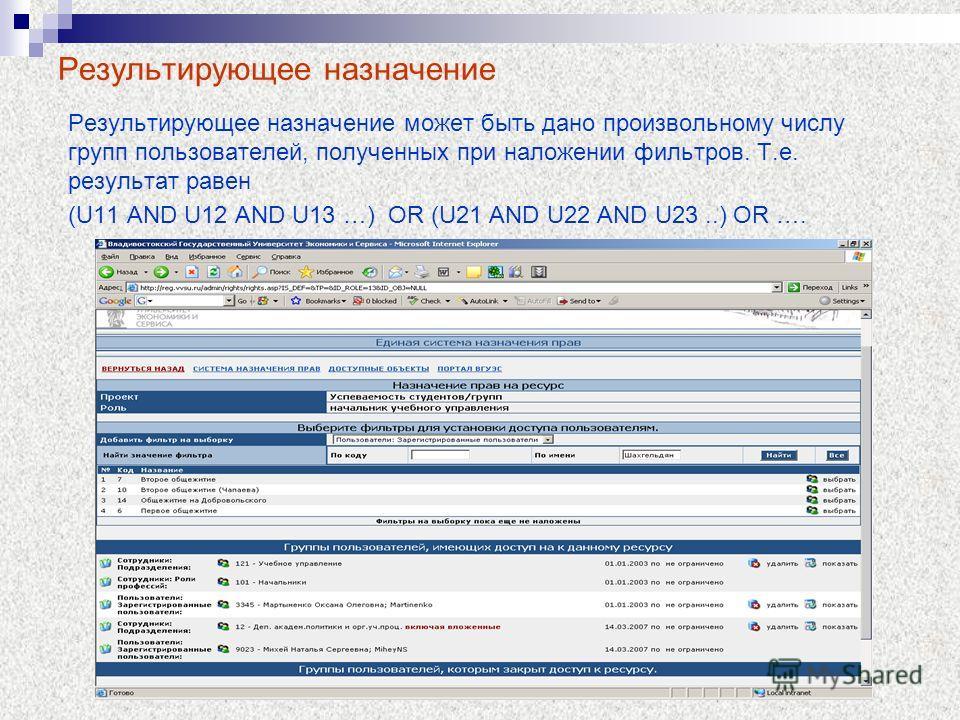 Результирующее назначение Результирующее назначение может быть дано произвольному числу групп пользователей, полученных при наложении фильтров. Т.е. результат равен (U11 AND U12 AND U13 …) OR (U21 AND U22 AND U23..) OR ….