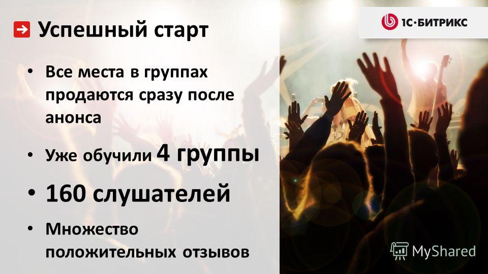 Все места в группах продаются сразу после анонса Уже обучили 4 группы 160 слушателей Множество положительных отзывов Успешный старт
