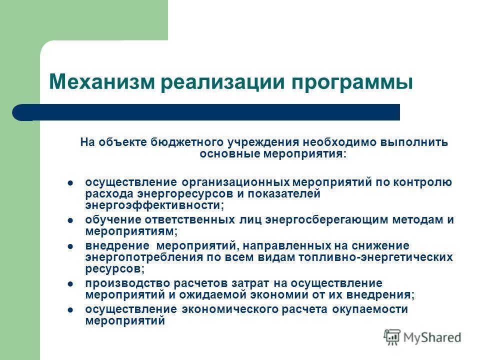 Механизм реализации программы На объекте бюджетного учреждения необходимо выполнить основные мероприятия: осуществление организационных мероприятий по контролю расхода энергоресурсов и показателей энергоэффективности; обучение ответственных лиц энерг
