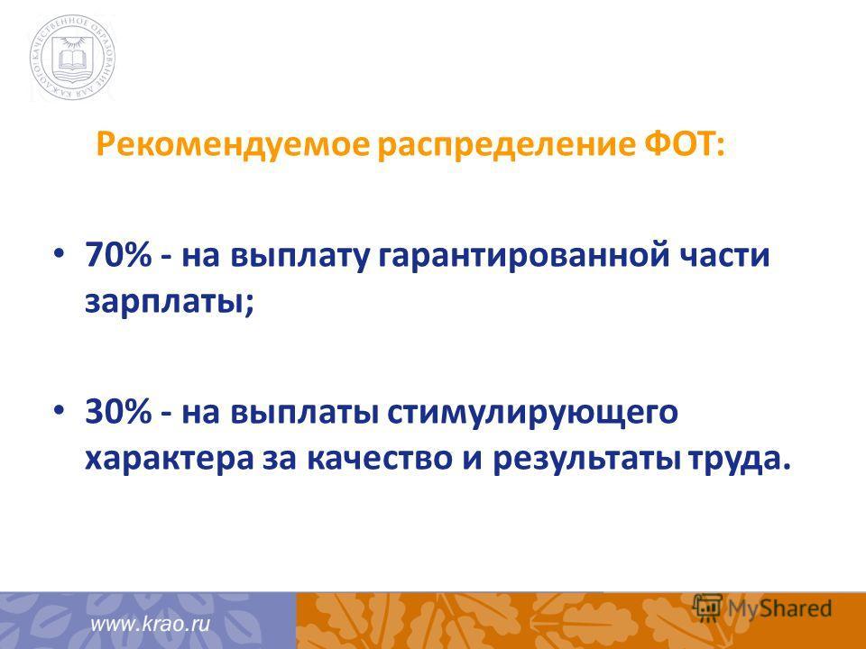 Рекомендуемое распределение ФОТ: 70% - на выплату гарантированной части зарплаты; 30% - на выплаты стимулирующего характера за качество и результаты труда.
