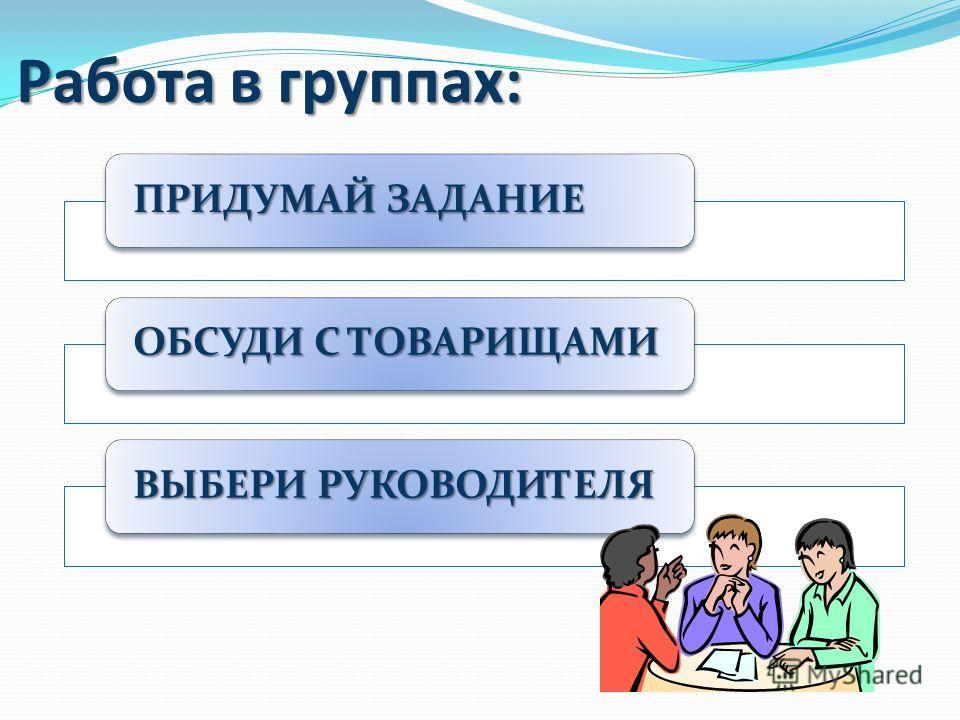 Работа в группах: ПРИДУМАЙ ЗАДАНИЕ ОБСУДИ С ТОВАРИЩАМИ ВЫБЕРИ РУКОВОДИТЕЛЯ