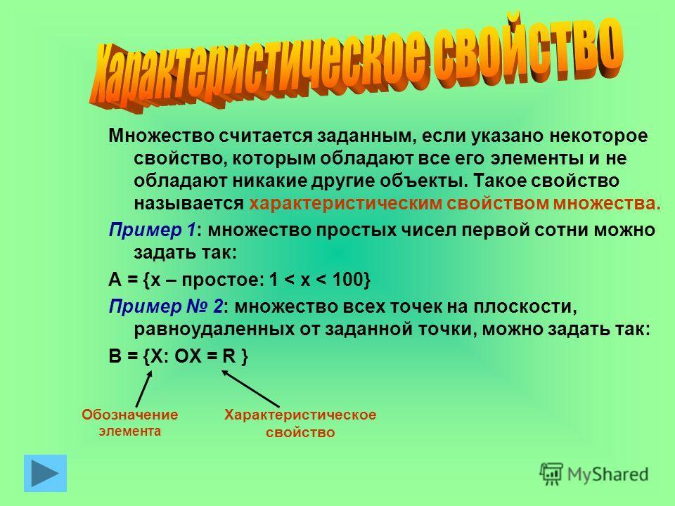 Множество считается заданным, если указано некоторое свойство, которым обладают все его элементы и не обладают никакие другие объекты. Такое свойство называется характеристическим свойством множества. Пример 1: множество простых чисел первой сотни мо