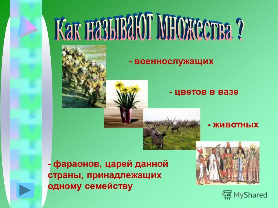 - цветов в вазе - животных - фараонов, царей данной страны, принадлежащих одному семейству - военнослужащих