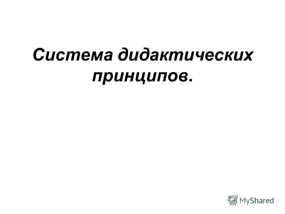 Система дидактических принципов.