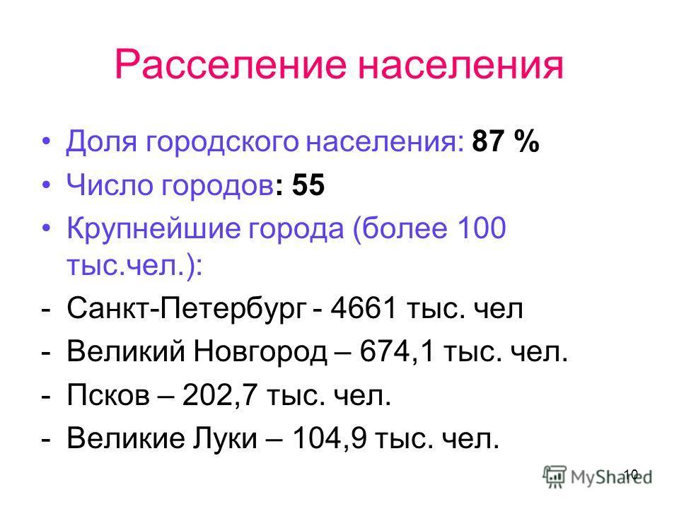 10 Расселение населения Доля городского населения: 87 % Число городов: 55 Крупнейшие города (более 100 тыс.чел.): -Санкт-Петербург - 4661 тыс. чел -Великий Новгород – 674,1 тыс. чел. -Псков – 202,7 тыс. чел. -Великие Луки – 104,9 тыс. чел.