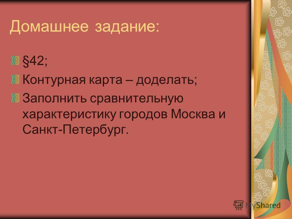 Домашнее задание: §42; Контурная карта – доделать; Заполнить сравнительную характеристику городов Москва и Санкт-Петербург.