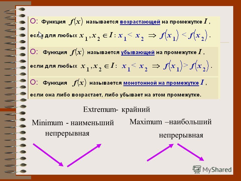 непрерывная Extremum- крайний Maximum –наибольший Minimum - наименьший