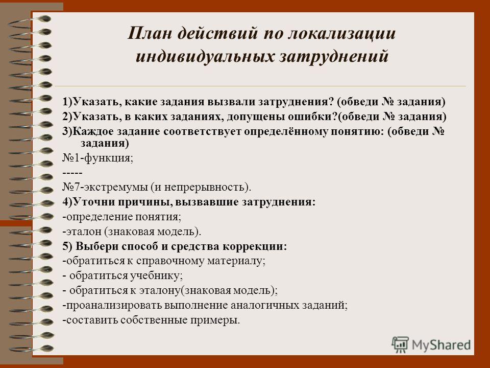 1)Указать, какие задания вызвали затруднения? (обведи задания) 2)Указать, в каких заданиях, допущены ошибки?(обведи задания) 3)Каждое задание соответствует определённому понятию: (обведи задания) 1-функция; ----- 7-экстремумы (и непрерывность). 4)Уто