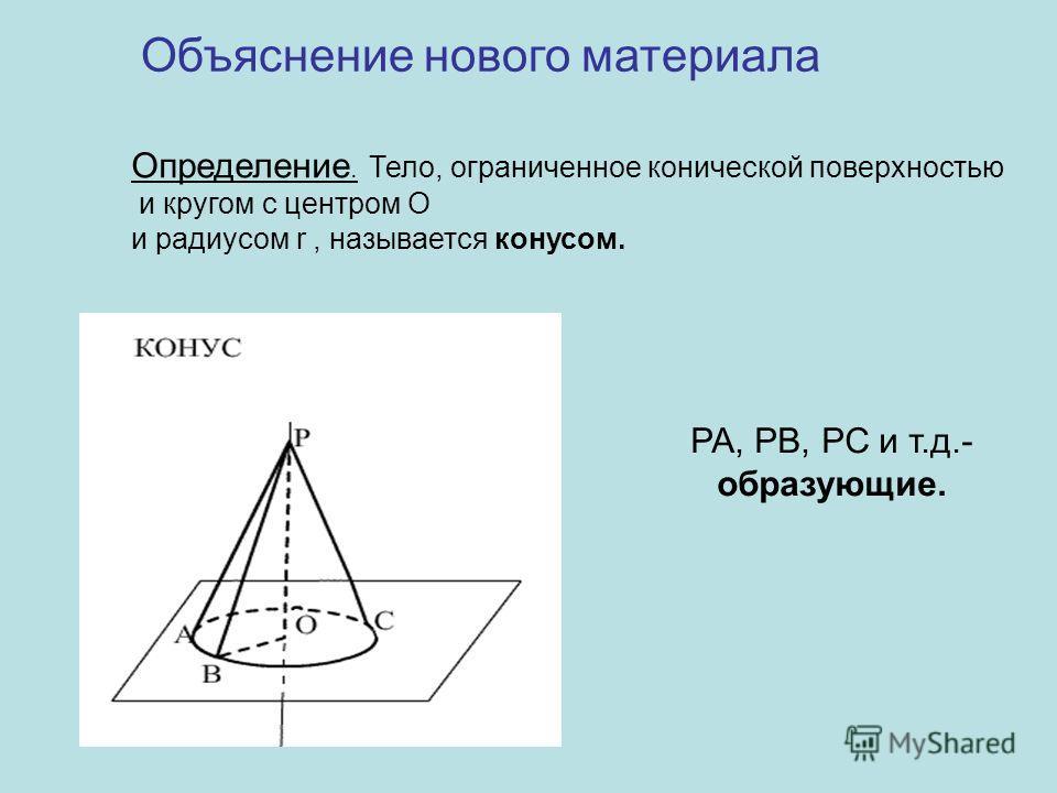 Определение. Тело, ограниченное конической поверхностью и кругом с центром О и радиусом r, называется конусом. Объяснение нового материала РА, РВ, РС и т.д.- образующие.