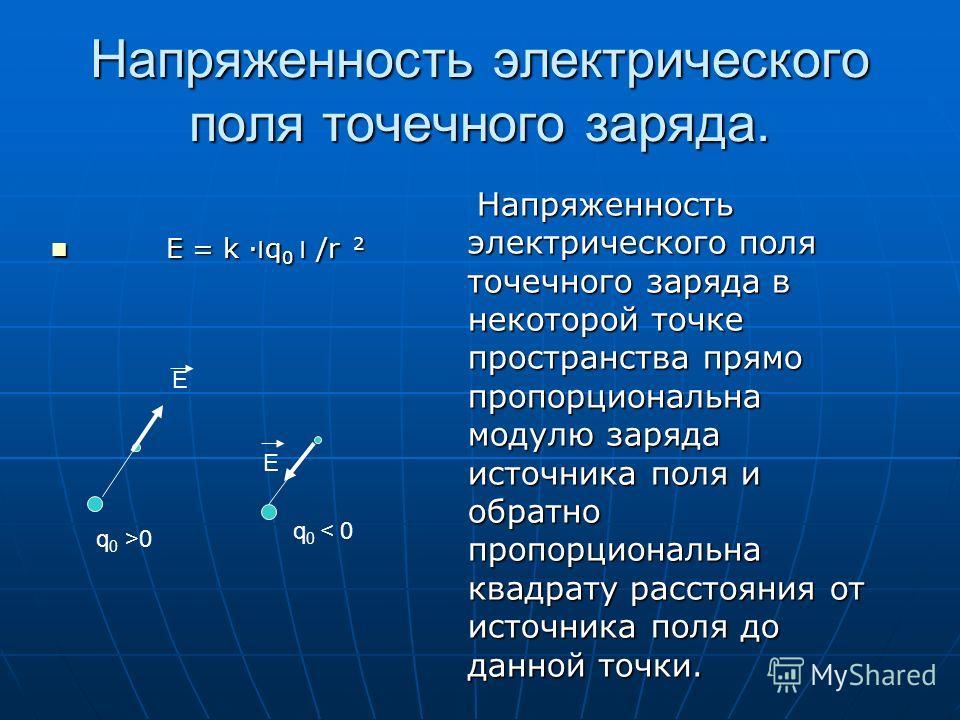 Напряженность. Напряженность электрического поля Напряженность электрического поля Отношение силы, с которой электрическое поле действует на пробный положительный заряд к значению этого заряда. Отношение силы, с которой электрическое поле действует н