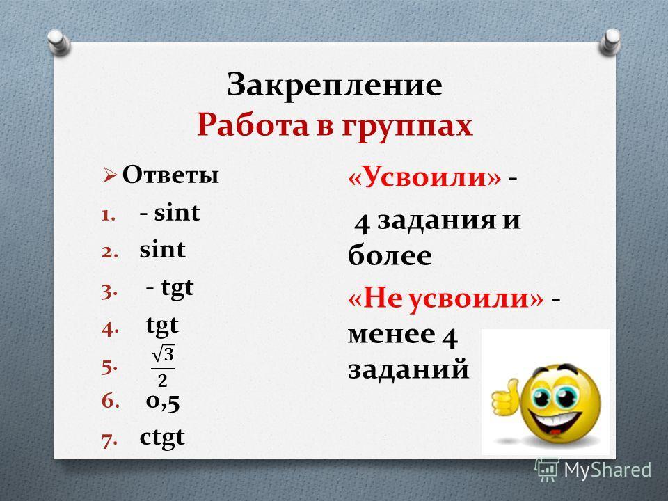 Закрепление Работа в группах Ответы 1. - sint 2. sint 3. - tgt 4. tgt 5. 6. 0,5 7. ctgt «Усвоили» - 4 задания и более «Не усвоили» - менее 4 заданий