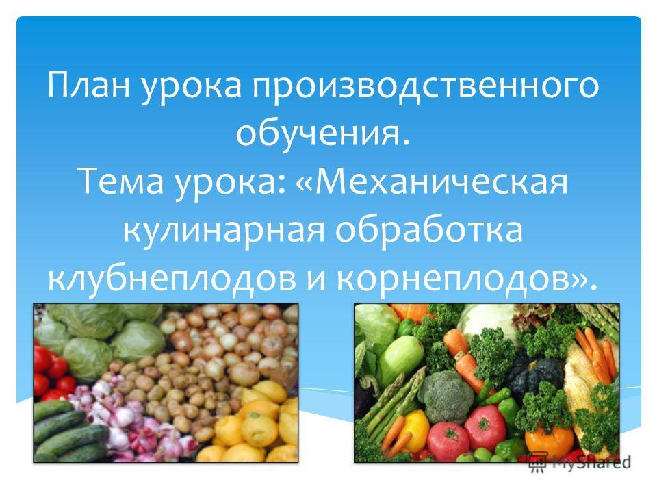 План урока производственного обучения. Тема урока: «Механическая кулинарная обработка клубнеплодов и корнеплодов».