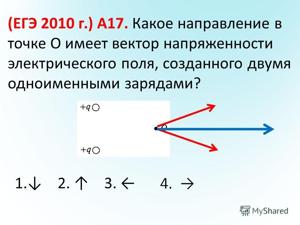 (ЕГЭ 2010 г.) А17. Какое направление в точке О имеет вектор напряженности электрического поля, созданного двумя одноименными зарядами? 1. 2. 3. 4.