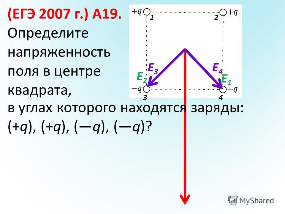 (ЕГЭ 2007 г.) А19. Определите напряженность поля в центре квадрата, в углах которого находятся заряды: (+q), (+q), (q), (q)? E2E2 3 1 4 2 E1E1 E4E4 E3E3