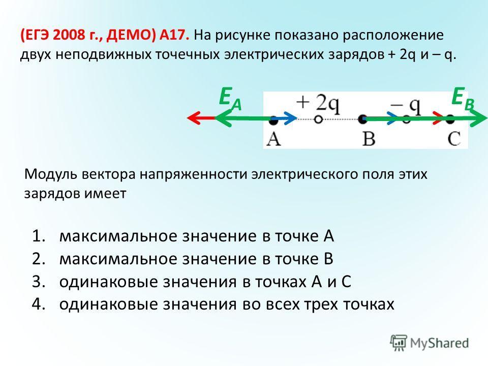 (ЕГЭ 2008 г., ДЕМО) А17. На рисунке показано расположение двух неподвижных точечных электрических зарядов + 2q и – q. 1.максимальное значение в точке А 2.максимальное значение в точке В 3.одинаковые значения в точках А и С 4.одинаковые значения во вс