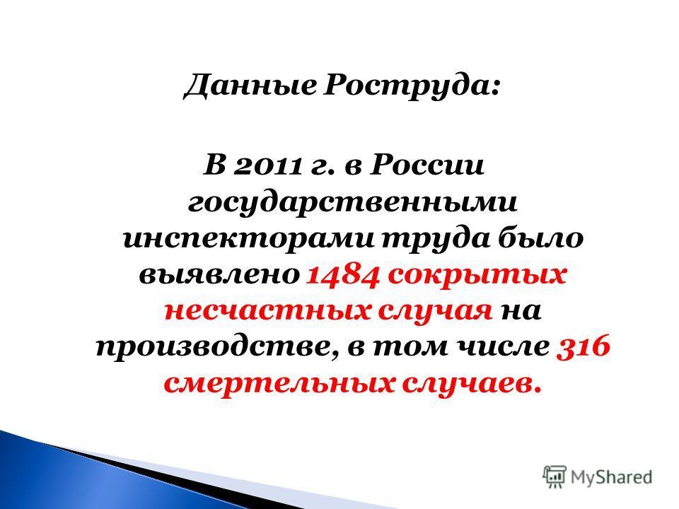 Данные Роструда: В 2011 г. в России государственными инспекторами труда было выявлено 1484 сокрытых несчастных случая на производстве, в том числе 316 смертельных случаев.